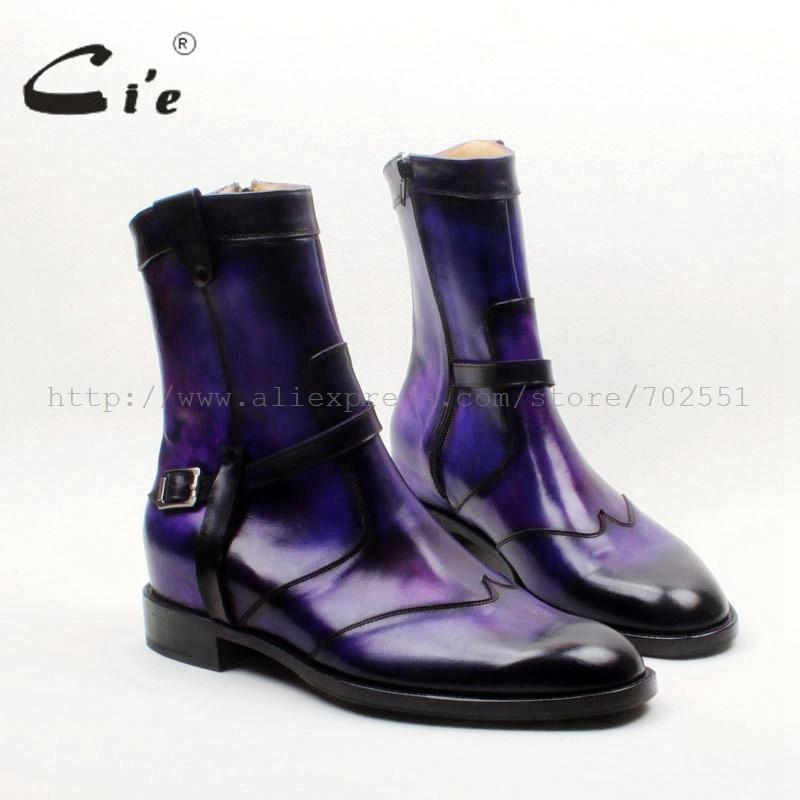 cie Round Toe W tips Zip Handmade Hand painted Purple Patina100 Genuine Calf Leather Men s
