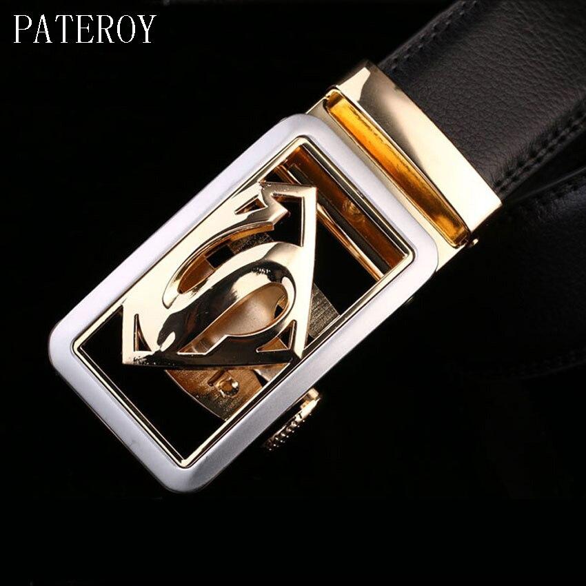 [PATEROY] Male   Belt   Ceintures Ceinture Homme Designer   Belts   Men High Quality Leather   Belt   Men Gold Automatic Buckle Black Cinto
