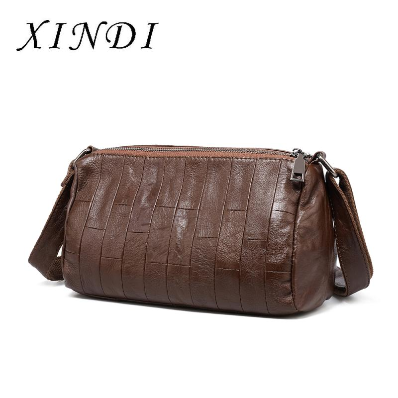 XINDI fashion Original Genuine Leather Women Shoulder Bags 2018 New Leisure Trend Ladies Crossbody Bag For Women's Handbag niuboa original genuine leather women shoulder bags new leisure trend ladies crossbody bag for women s cowhide tote handbag