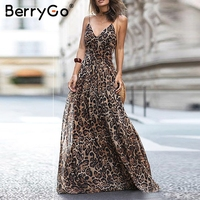BerryGo Sexy women dresses v neck strap leopard elegant long dresses Chiffon evening party dress Vintage maxi vestidos de fiesta