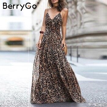 BerryGo Sexy v neck long strap leopard prom dresses Chiffon lining zipper evening party dress Vintage maxi vestidos de fiesta широкие длинные платья