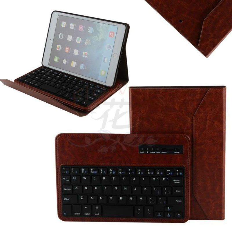 5 colors 2015 Newest Bluetooth 3.0 Wireless Keyboard & Foldable Crazy Horse Leather Case Stand Cover Holder for iPad Mini 1 2 3 9 inch tablets leather case crazy horse texture case with holder for onda v891w ramos i9s pro