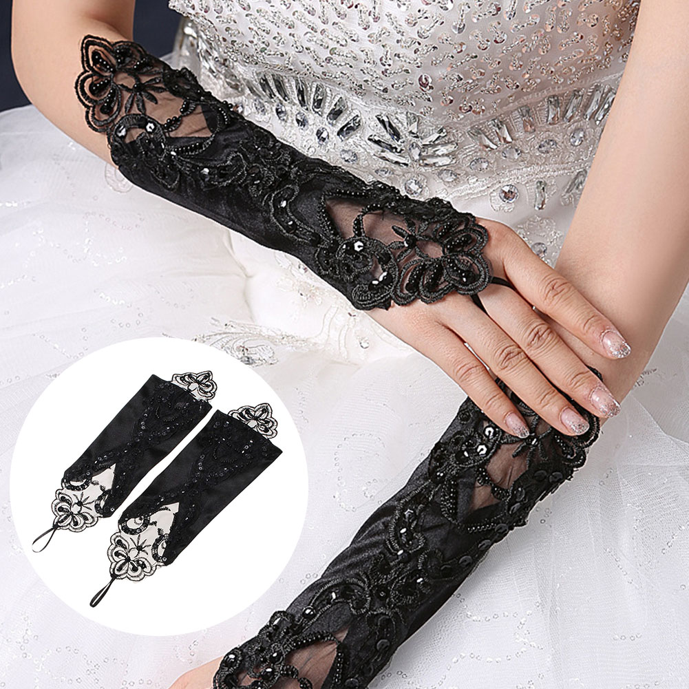 Brand New Fashion Women Lace Long Gloves Black Beading Stretch Fingerless Embroidered Female Gloves Retro Gothic