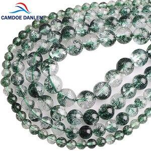 Прозрачные бусины CAMDOE DANLEN из натурального камня, фантомные бусины с зеленой трещинкой-призраком, россыпью, бусины для самостоятельного изг...