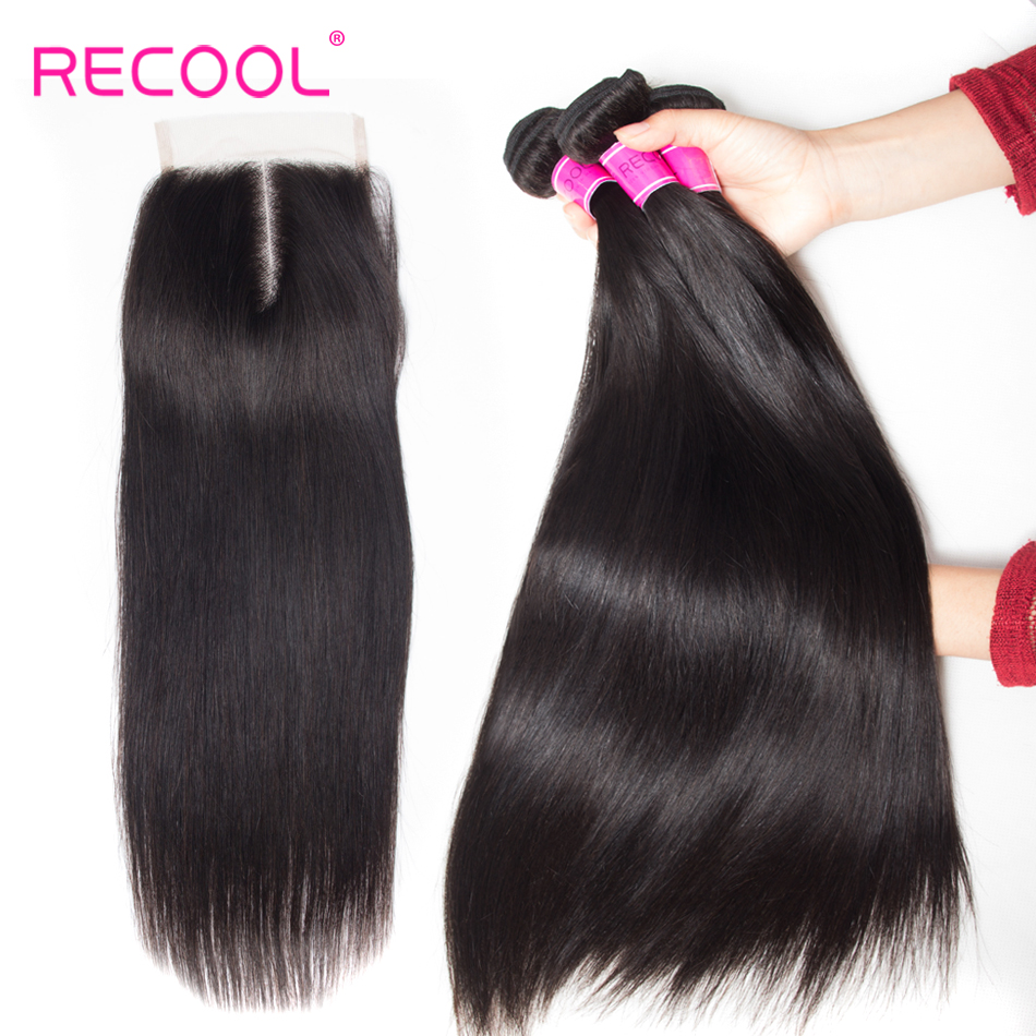 Recool Straight Human Hair Bundles With 5x5 Closure 3 Bundles With Lace Closure Remy Brazilian Hair