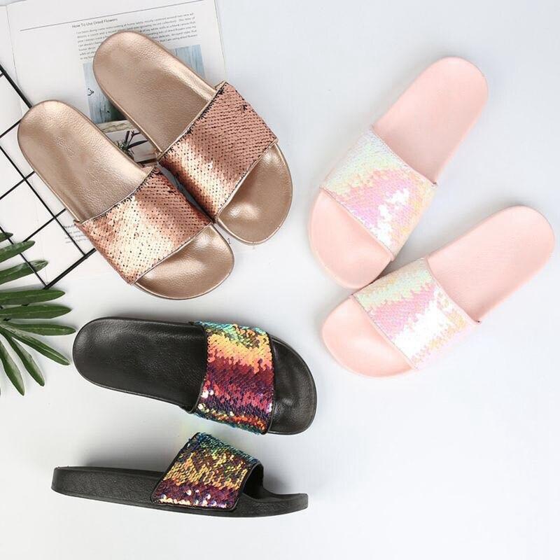 Bailehou Для женщин тапочки сандалии с украшениями Пляжные сланцы обувь на платформе без каблука женская повседневная обувь летние женские шле...