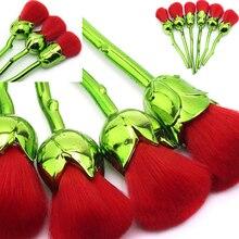 6Pcs Kits Multicolored Face Powder Foundation Blush Rose Flower Makeup Brushes Unicorn Set Tool