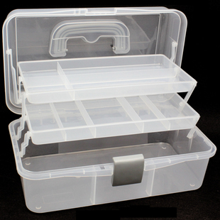 Toolbox transparent multilayer plastic folding storage box art box cosmetic medicine chest storage box