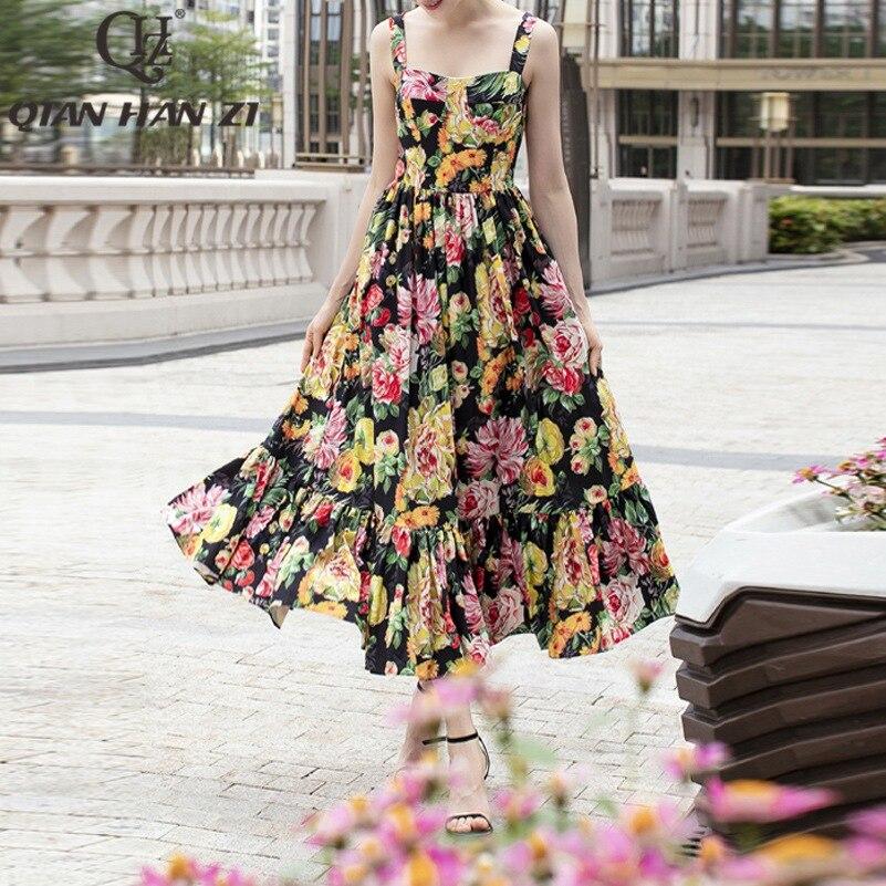 Qian Han Zi Designer fashion runway summer Maxi dress Women s Spaghetti Strap vintage Floral Print