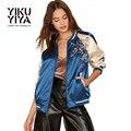 YIKUYIYA Azul Casual Básico Das Mulheres Jaquetas Casacos de 2017 Mulheres Jaqueta Primavera Fino Bordado Floral Bomber Casacos Mulheres Outwear Nova