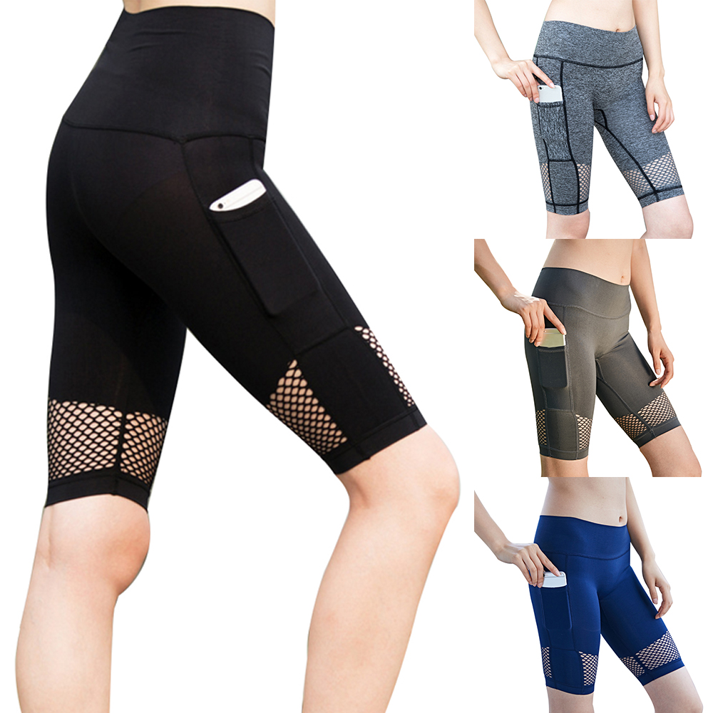49fb1a3620095f Hohe Taille Shorts Gym Frauen Yoga Shorts Hohe Taille Sexy Mesh Leggings  Push-Up Weibliche Tasche Sportwear Fitness Frauen Kleidung ~ Super Deal  July 2019