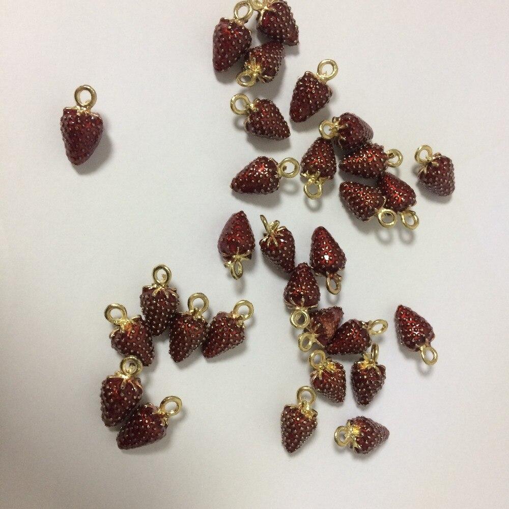 10pcs/lot 3D Retro cute Strawberry pendant Earrings Drop alloy enamel Charm DIY accessories of necklace bracelet headdress