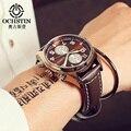 Ochstin moda de luxo da marca homens relógio à prova d' água homem de couro masculino relógio de quartzo relogio masculino esportivo hodinky relógio 2017