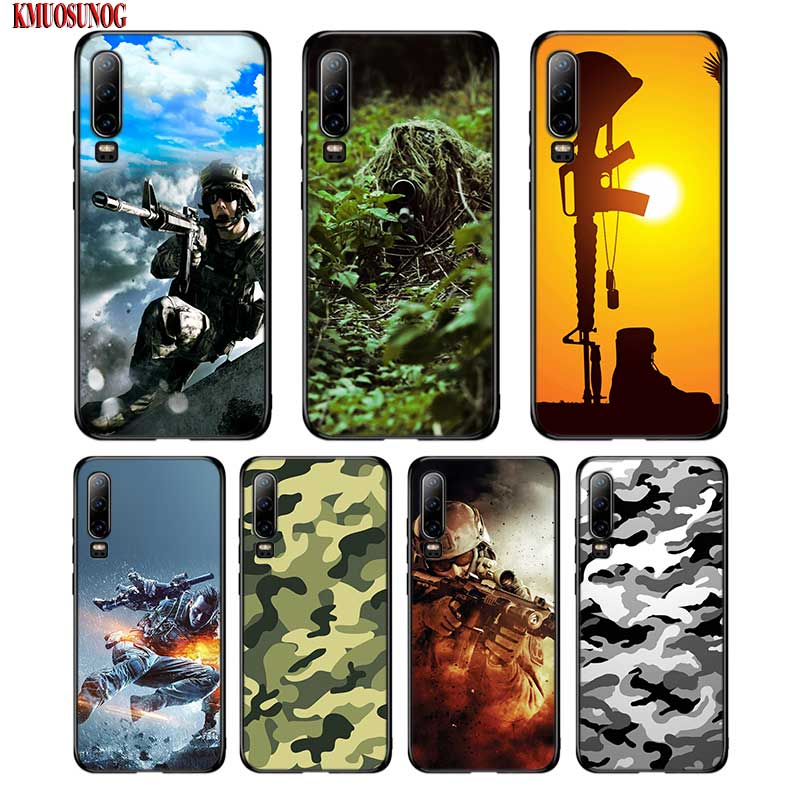 Black Silicon Phone Case Army Soldier camouflage Printed For Huawei P8 P9 P10 P20 P30 Pro Lite <font><b>P</b></font> <font><b>Smart</b></font> Plus Y6 Y7 Y9 2019 2017 image