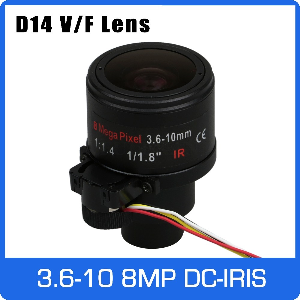 8Megapixel Varifocal 4K Lens 1/1.8 inch 3.6-10mm with DC-IRIS D14 Mount For IMX274/IMX178/OS08A10 CCTV IP Camera 8megapixel varifocal cctv 4k lens 1 1 8 inch 3 6 10mm cs mount dc iris for sony imx178 imx274 box camera 4k camera free shipping