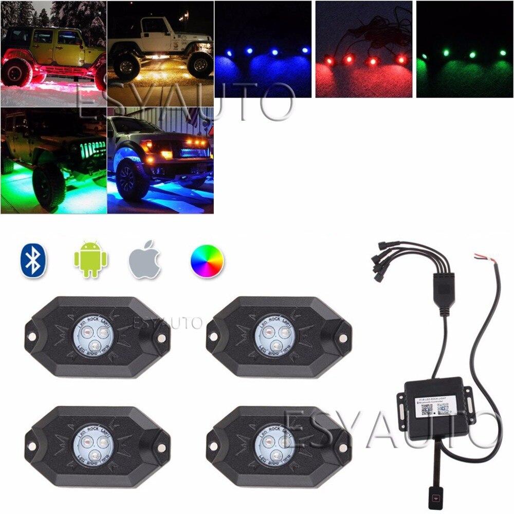 """""""4 блока Мульти-Цвет 9W 3"""""""" RGB вел рок прожектора луча управления Bluetooth внедорожный мотоцикл для джип Рэнглер"""""""