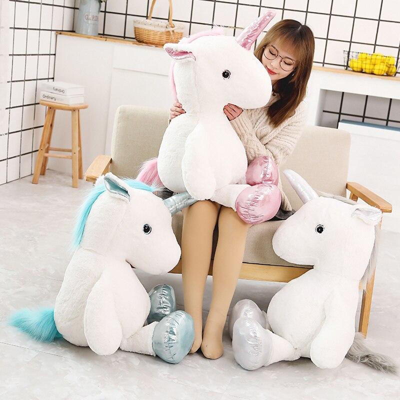 Big Size Unicorn Plush Toys Cartoon Animal Stuffed Doll Plush Unicorn Horse Doll Baby Toy Soft Plush Animals Pillow Girl Gift