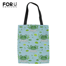 FORUDESIGNS Fashion Shopping Bags Cute Frog and Cool Pig Pattern Girls Handbags Cotton Linen Women Ladys Canvas Bag