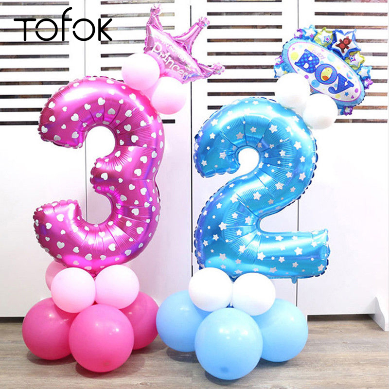Tofok 32inch Digital Aluminum Balloon Party Decoration Baby Birthday Party Supplies Number Foil Balloons Wedding Decor Layout