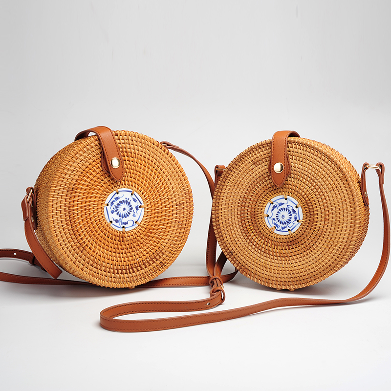 OrangeLeaf Vintage Bali wicker beach bag handmade Round Straw Bag INS hot crossbody Circle rattan bags for women 2018 vacation