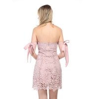 MUXU pink lace dress bodycon mini pink short dresses sundress streetwear backless crochet jurk strapless kleid vestito donna