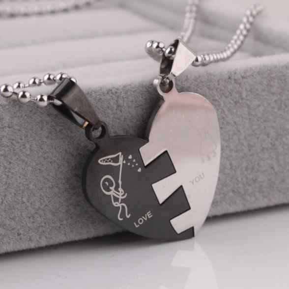 10pcs/lot Lovers In half heart pendant necklaces bead chain for men women 316L Stainless Steel necklace wholesale