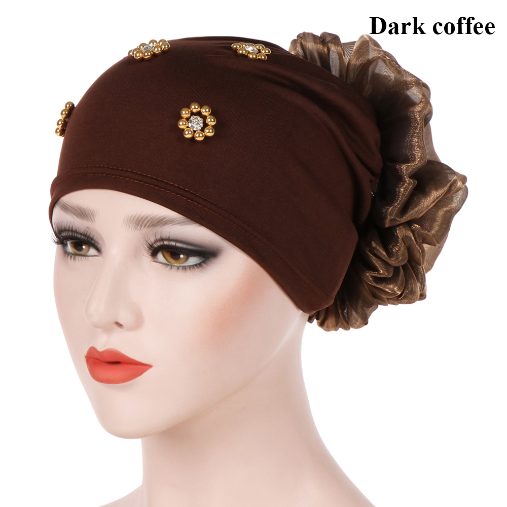 New Gold Velvet Elegant Indian Turban Cap Women Big Flower Beads Muslim Hijab Islamic Jersey Chemo Hat Ladies Head Scarf Cover Islamic Clothing Traditional & Cultural Wear