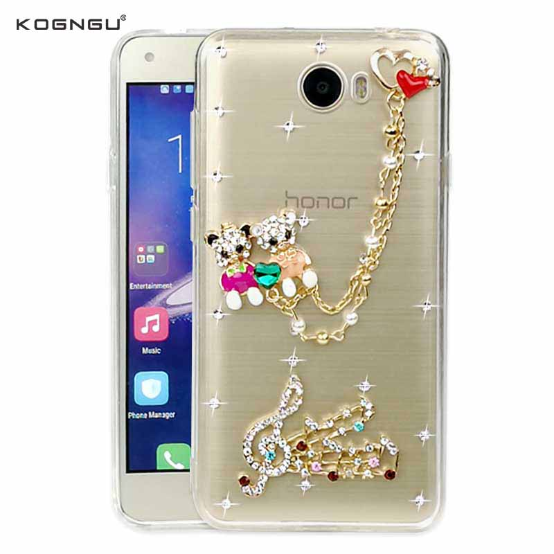 3d Rhinestone Case for Huawei Y5II Case Soft Silicon Bumper Bear Bling Chain Cover for Huawei Y5 II Case Accessories