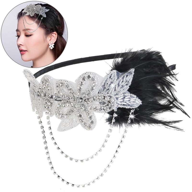 Retro Black Feather Headpiece Flapper Chain Flower Hairband Great Gatsby Headband 1920s for Fancy Dress Party
