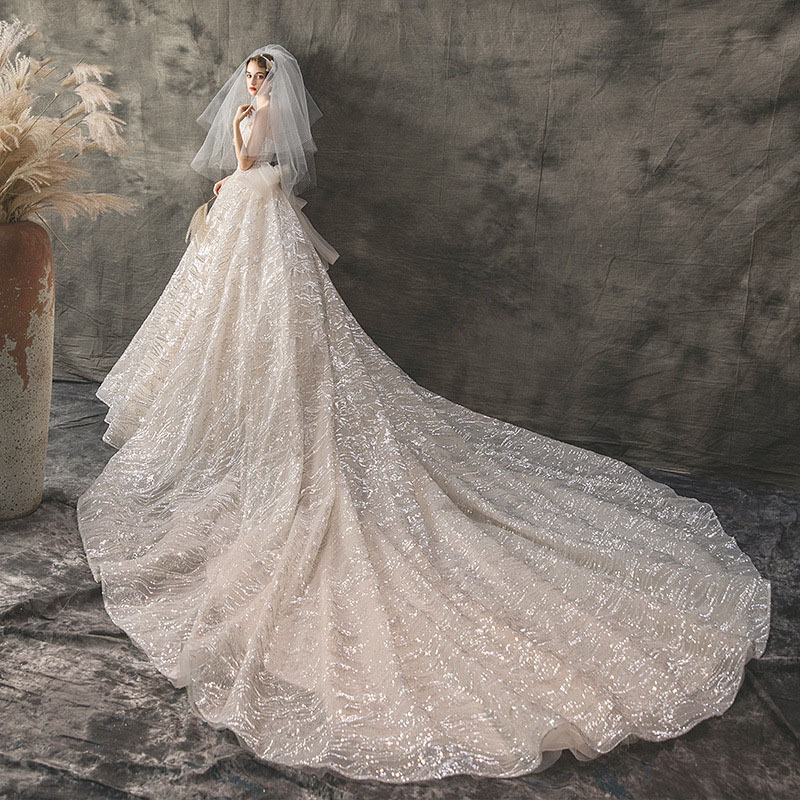 d533f4abced24 ... Tail Wedding Dress Costume Grossesse · 2019 Summer New Pregnant Lace  Dress Elegent White Strapless Backless Sequin Lace Big Bow-knot