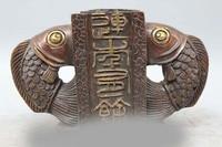 10 Китайский Бронзовый Gild народный обычай животных 2 Fish Дракон дверь Скульптура статуя