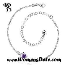 WomensDate Plateado Clásico Hueco-Hacia fuera Púrpura Rhinestone Tobillera