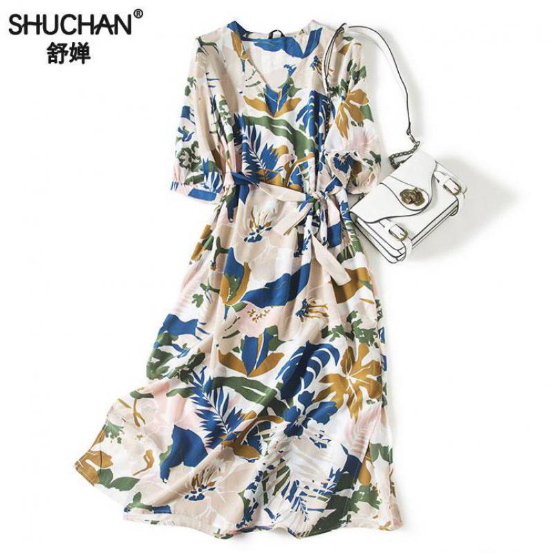 5f61a7eee1bd6ff Shuchan натуральный шелковое длинное платье Chic печати с короткими  рукавами и поясом до середины икры v-образным вырезом летнее платье для  женщи.