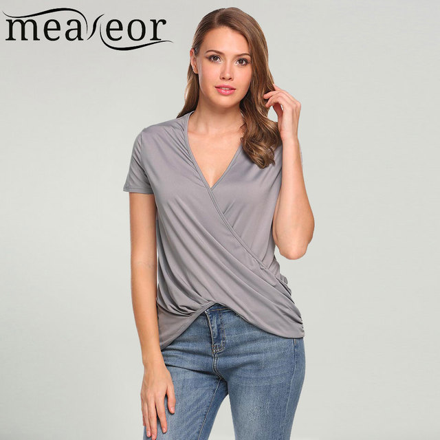 e8b4b91b1 Meaneor T-Shirts Women Tshirt Cross Front Faux Wrap Draped Casual V-Neck  Short Sleeve Solid Tshirts tees Tops