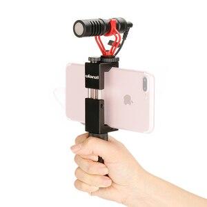 Image 3 - Konfiguracja Vlog kompaktowy mikrofon aparatu W uchwycie telefonu uchwyt wideo Rig Smartphone Mic dla iPhone 11 Huawei Canon Nikon DSLR aparaty