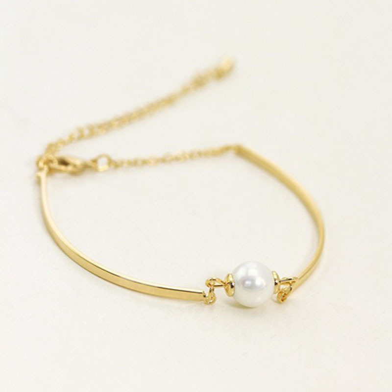 2015 Women Girl Simple Handmade Pearl Bracelet Gold Chain ...