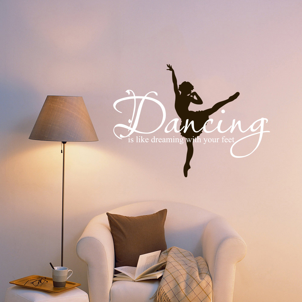 Ballet Ballerina Dancing Dream Wallpaper Vinyl Wall Sticker Mural Decal Lettering Words Quotes Art Baby Kids Girl Room 60x83cm In Stickers From Home