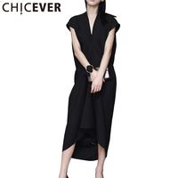 CHICEVER Sleeveless Sexy Fold Long Summer Dress Women Tops 2017 V Neck Black Loose Dresses Female