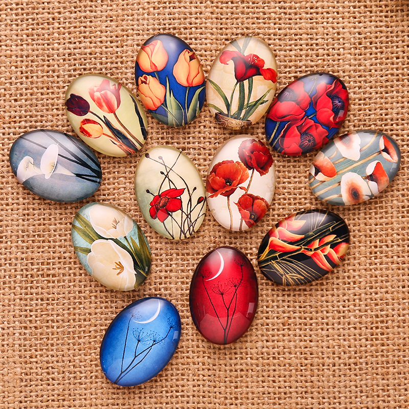 20pcs Mixed Tulip Flower Pattern Glass Cabochon 18*25mm Oval flatback handmade Pendant Necklace findings mixed pattern swimsuit