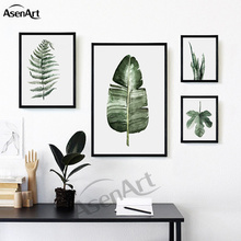 Canvas Painting Nordic Tropical Plant Minimalist Artwork Fresh Green Leaves of the Aloe Wall Picture Living Room Decor No Frame