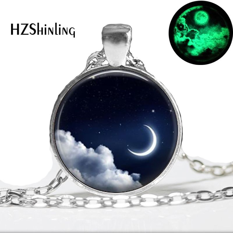 Glow in the dark jewelry moon necklace silver galaxy glass moon photo necklace Glowing Pendant Necklaces