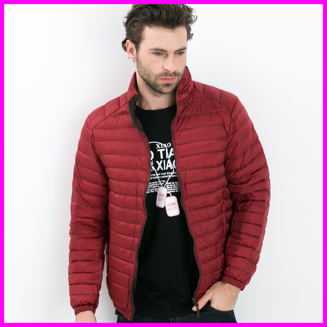 2016 New Mens Winter Coat Down Parkas Solid Color Ultra Light White Duck Down Jacket Plus Size 4XL