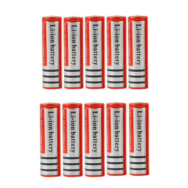 10 pcs set Rechargeable 18650 Battery 3 7V 5000mAh Liion Battery for Led Flashlight font b