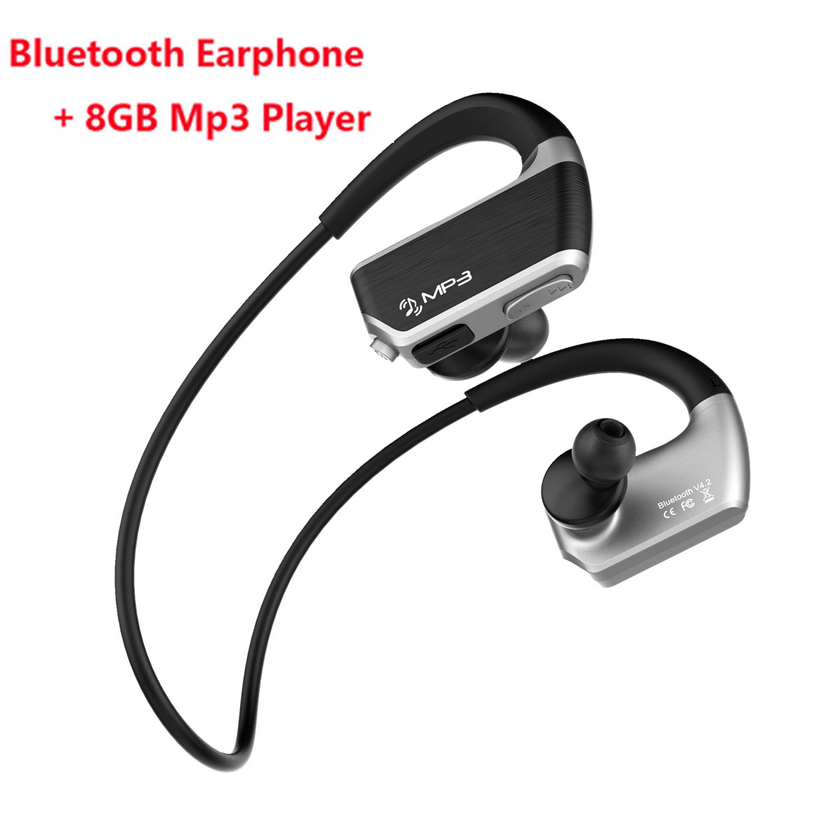 J2 IPX4 Waterproof Mp3 Music Player 8GB+Wireless Bluetooth Earphone Sport Earbuds Headset Handsfree Headphone with Mic for Phone luoka new wireless stereo bluetooth headset music headphone sport bluetooth earphone handsfree in ear earbuds mp3 media play