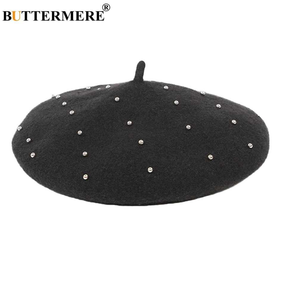 Зимние шапки BUTTERMERE, женские береты, шерсть, Черный берет, женские перламутровые винтажные теплые французские береты, женская мягкая Кепка художника