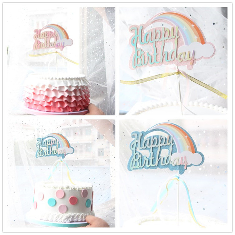 1PC Cute Biling Rainbow Cloud Unicorn quot Happy Birthday quot Cake Topper for Baby Shower Birthday Party Dessert Table Decoration in Cake Decorating Supplies from Home amp Garden