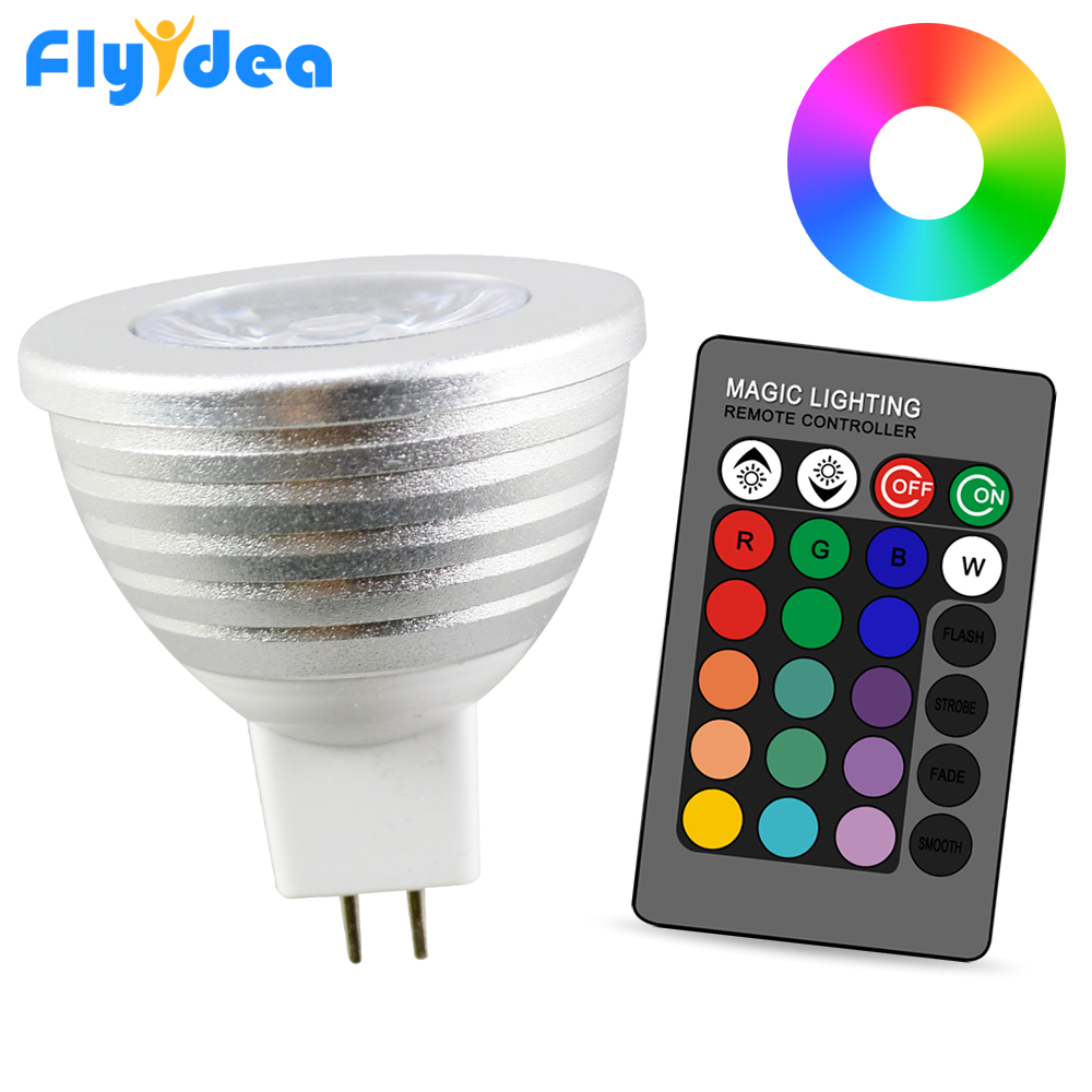 Dimmable Stage Magic  Holiday Light IR Remote Control 5W 24key Colorful DC12-24V MR16 Rgb Bulb LED Spotlight 16 Color