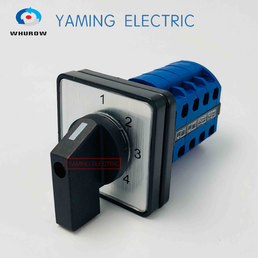 YMW26-20/4 Selector Cam switch 4 poles 4 positions 20A 660V Changeover rotary control switch 16 terminals LW26 thgs 8 terminals 5 positions master control rotary cam switch 20a black blue
