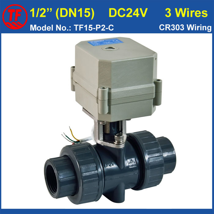 DC24V 3 Wires 1/2'' Electric PVC Valve TF15-P2-C 10NM On/Off 15 Sec Metal Gear CE DN15 Plastic Actuator Valve For Water Systems bsp npt 1 pvc dn25 electric shut off valve tf25 p2 c dc12v cr303 wiring 10nm on off 15 sec metal gear for water control
