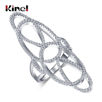 Kinel Hollow Crystal Flower Ring For Women Trendy Cubic Zirconia Wedding Rings For Women Engagement Top